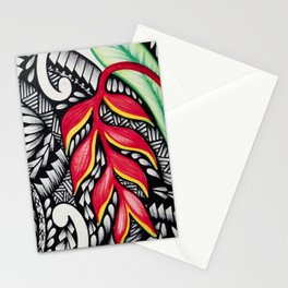 Red heliconia design Stationery Cards