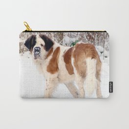 Snow sniffing St Bernard dog Carry-All Pouch