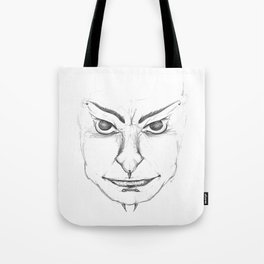 Pierced Sketch Face Tote Bag
