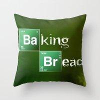 baking Throw Pillows featuring Baking Bread by ViMas