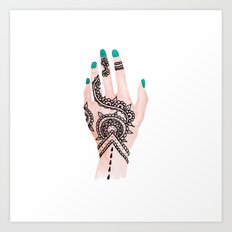 Modern watercolor hand  floral henna tattoo turquoise nails Art Print