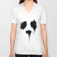 panda V-neck T-shirts featuring PANDA by Sara Eshak