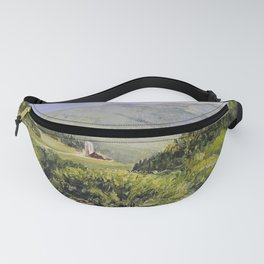 Pastures and Mount Mansfield Oil Landscape Vermont Painting Fanny Pack