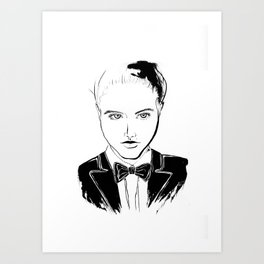 BALLROOM GIRL w BOWTIE Art Print
