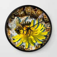 bees Wall Clocks featuring Bees by Moody Muse