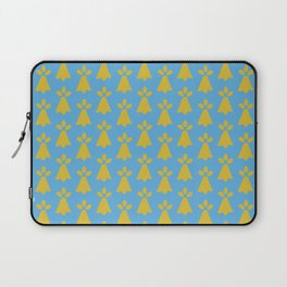 French Country Blue and Gold Ermine Spots Patterned Print Laptop Sleeve
