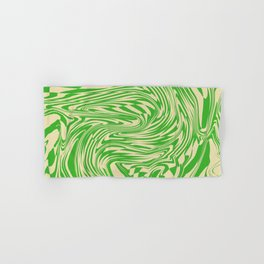 Psychedelic Warped Marble Wavy Checkerboard in Green and Cream Hand & Bath Towel