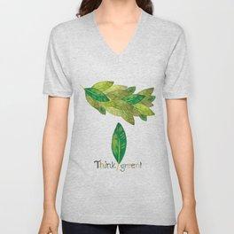 Watercolor edited digitally - Think green! Unisex V-Neck