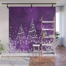 Happy Holidays Purple Magic Wall Mural