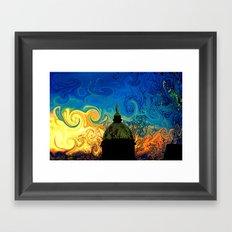 Starry Night Golden Dome Framed Art Print