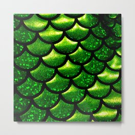 Mermaid Scales - Emerald Green and Black Metal Print