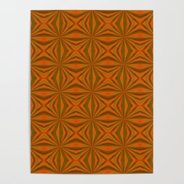 Autumnal Leaves Red Green and Amber Pattern Poster