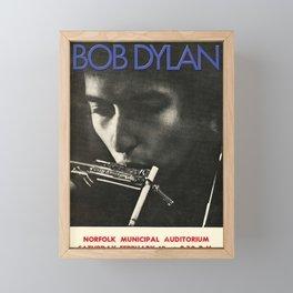 Vintage 1966 Bob Dylan Norfolk Virginia Concert Poster Framed Mini Art Print