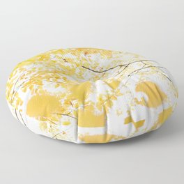 Yellow Canopy - Autumn Leaves Abstract Floor Pillow