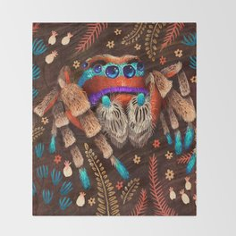 Jumping Spider Throw Blanket