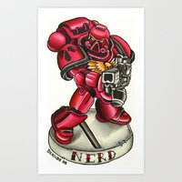 nerd Art Prints featuring nerd! by sharktankillustrations