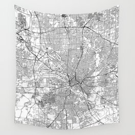 Dallas White Map Wall Tapestry