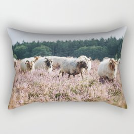 Photo of a herd of sheep on the purple heather near Utrecht, Holland/The Netherlands | Fine Art Colorful Travel Photography |  Rectangular Pillow