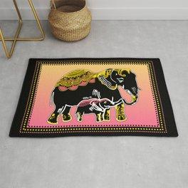 Ornate Elephants in Yellow, Pink, & Black Rug