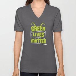 Alien Green Lives Matter space shirt design Unisex V-Neck