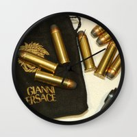 versace Wall Clocks featuring Versace Bullets Colt by Premium