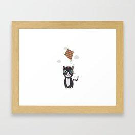 Cat with Kite Framed Art Print