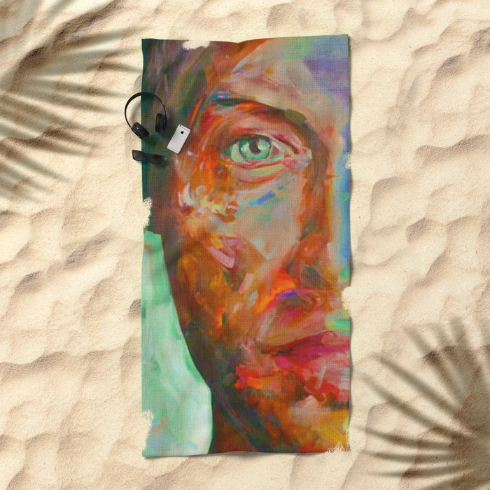Face in Saturated Color's Beach Towel