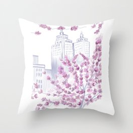 Cherry Blossom Tree Spring in New York City NYC Gathering of Lines Throw Pillow