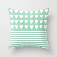 Heart Stripes Mint Throw Pillow