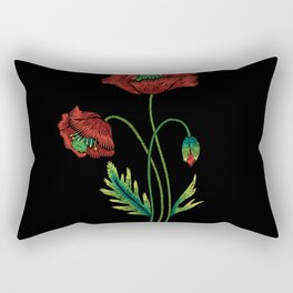 Embroidered Flowers on Black 04 Rectangular Pillow