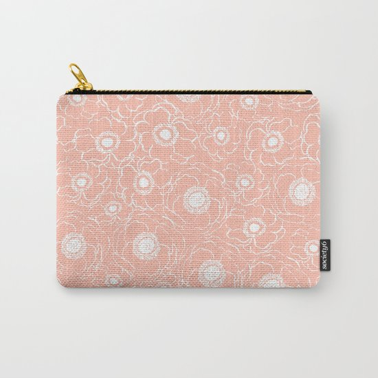 Blush Flowers cute boho modern floral pattern print spring summer garden nature love monochrome Carry-All Pouch