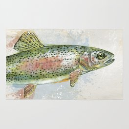 Splashing Rainbow Trout Rug