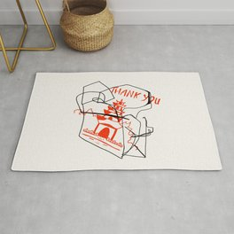 Chinese Food Takeout - Contour Line Drawing Rug
