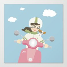 Scooter Girl with Dog Illustration Canvas Print