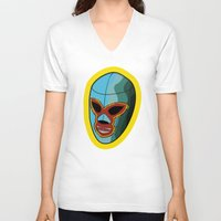 mask V-neck T-shirts featuring mask by mark ashkenazi