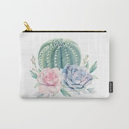 Cactus Rose Succulents Carry-All Pouch