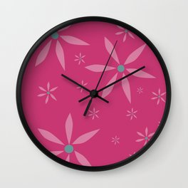 nice flowers on dark pink Wall Clock