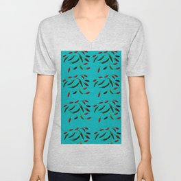 Red Green Purple Chillies On Turquoise Background Unisex V-Neck