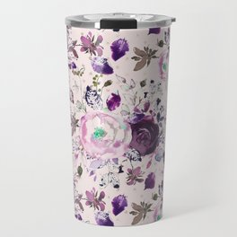 Country chic pink lavender violet watercolor floral Travel Mug
