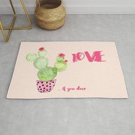 Love if you dare - Cactus watercolor illustration Rug