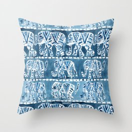 ELEPHANT SAFARI Tribal Indigo Ikat Pattern Throw Pillow