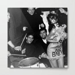 Livin' la Vida Loca, Exuberant Brunette Dancing black and white photograph / photograph Metal Print