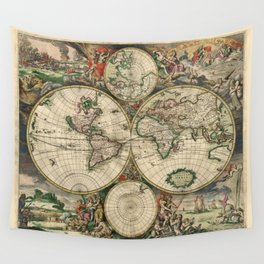 Ancient Map of the World 1689 Wall Tapestry