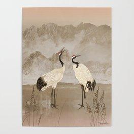 Wintering Manchurian Cranes Poster