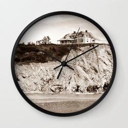 Big House on the Cliff panoramic Wall Clock