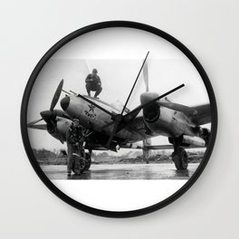370th Fighter Group P 38 Texas Jewell II Wall Clock