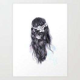 Flowers in Hair Art Print