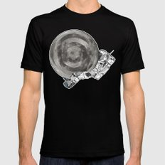 Troubled Moons and Spacemen MEDIUM Black Mens Fitted Tee