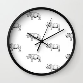 Rhino (Line drawing) Wall Clock