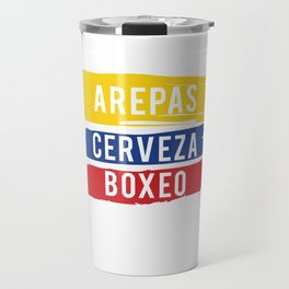 Arepas Cerveza Boxeo design Colombian flag Boxing fan Gift Travel Mug